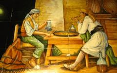 Azuleros de deux paysans dégustant une Paella Authentique