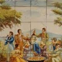 Scène de Paella dans un champ sur azuleros