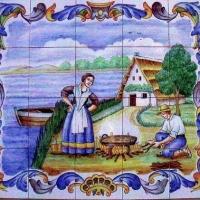 Céramique de Valenciens qui mangent une paella dans la Huerta