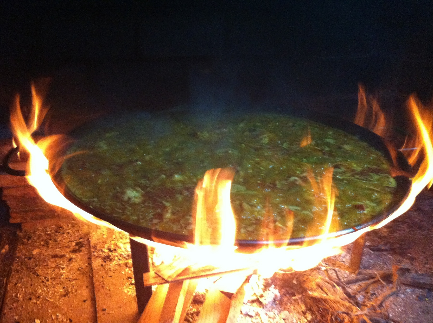 Paella on a wood fire