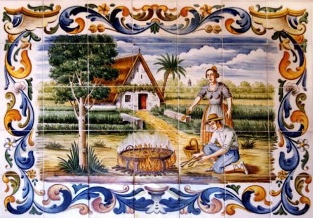 azulejos paysans valencianos cuisinant une paella au feu de bois la bible de la paella. Black Bedroom Furniture Sets. Home Design Ideas