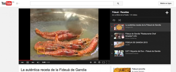 Chaine YouTube de la bible de la paella sur la fideua