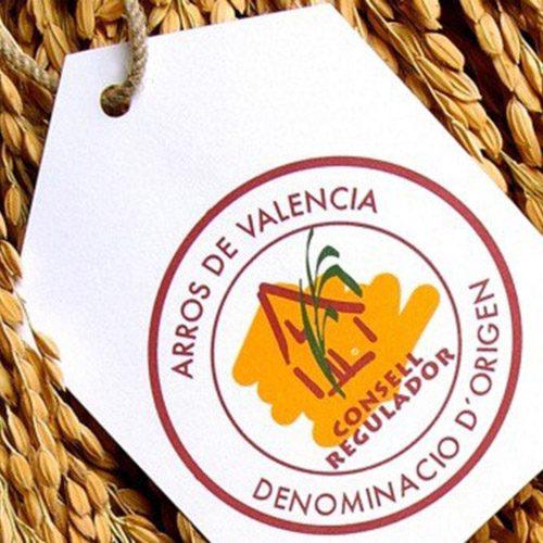 Riz pour la Paella A.O.C. de Valence etiquette logo sur le riz